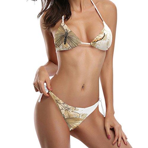 sui imbottito laccetti Swimwear da farfalla Floral bagno con fianchi background Bikini Swimsuit COOSUN costume Multicolore pezzi bikini Due fYvAq0wPx