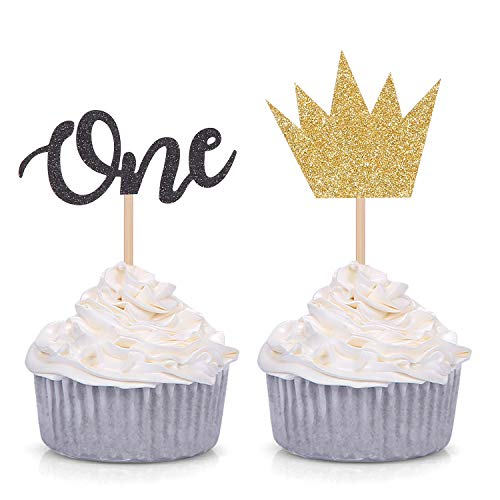 24 Counts Wild ONE Cupcake toppers - Boy First Birthday Party Decorations - Gold Crown and Black One - Boy Cupcake Birthday