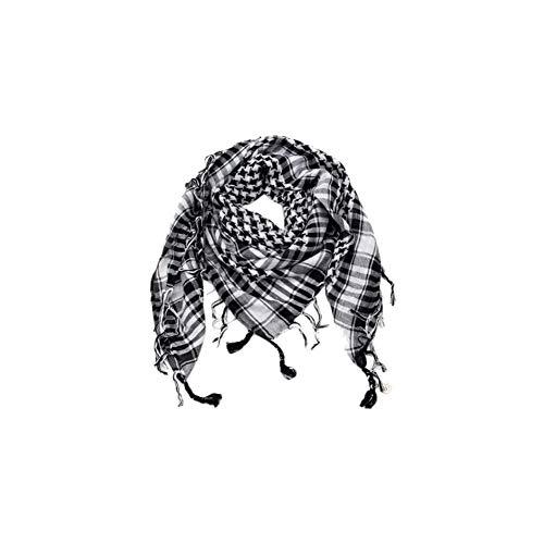 CactusAngui Scarf Men Fashion Outdoor Tactical Men Muslim Long Soft Nylon Windproof Shawl Scarf Black + White