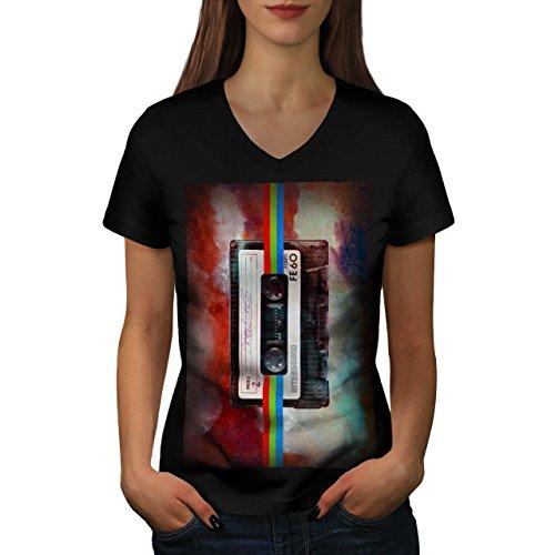 old-tape-cassette-music-fashion-women-new-xl-v-neck-t-shirt-wellcoda