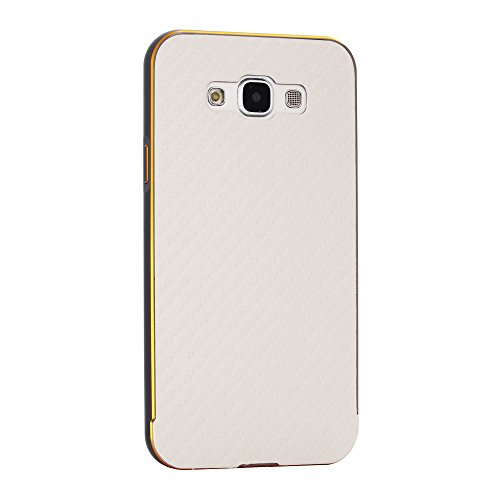 Samsung Galaxy E7 Funda Case LifeePro Stylish 2 in 1 Patrón de teléfono híbrido [Anti-rasguños] [Antideslizante] Resistente a los golpes PU Cuero Plata Contraportada + Caja de parachoques de aluminio  Gris