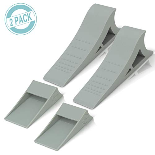 Heavy Duty Rubber Door Stopper - Zero Edge Door Wedge Stops All Doors, Gaps to 1.5 Inch on All Surfaces - Door Stopper Wall Mount Hangs Up When Not In Use for No-Bending Easy Access