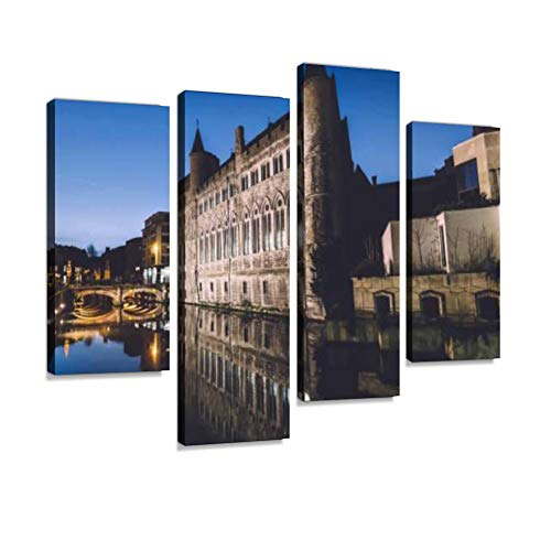 Gerald The Devil Gothic Castle in Ghent Canvas Wall Art Hanging Paintings Modern Artwork Abstract Picture Prints Home Decoration Gift Unique Designed Framed 4 Panel
