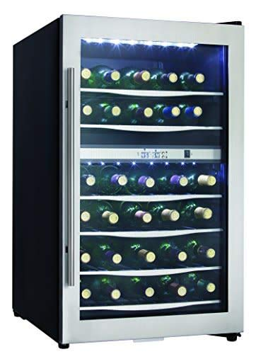 Danby DWC040A3 20 Inch Wide 38 Bottle Capacity Free Standing Wine Cooler with Du, Black/Stainless - 20 Cooler Capacity Bottle Wine
