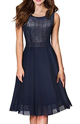 HOMEYEE Women's Vintage Sleeveless Crew Neck Chiffon Aline Cocktail Dress A031