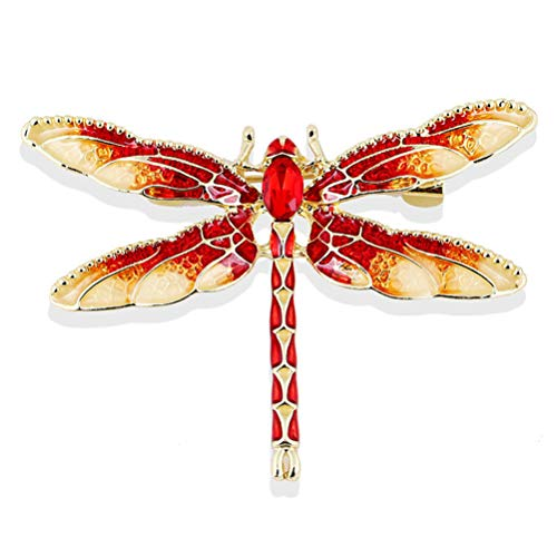 Rhinestone Dragonfly Brooch Pin for Women Red Jewelry ()