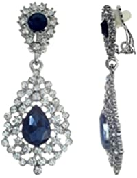Women's Blue Crystal Vintage Style Clip On Earrings