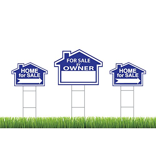 Sams Signs For Sale By Owner Sign Kit   3 Double Sided Signs And 3 Heavy Duty H Stakes   Blue Property Signs 18  X 24  And 12  X 18    Directional Arrows   Fsbo Lawn Sign   Premium Real Estate Signs