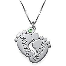 Engraved Baby Feet Pendant Necklace w/Personalized CZ Birthstone - Custom Made Jewelry w/Name
