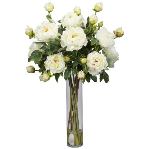 Nearly Natural 1230-WH Peony with Cylinder Silk Flower Arrangement, White by Nearly Natural