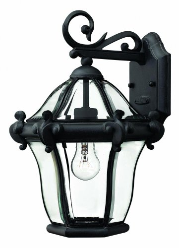 (Hinkley 2440MB Traditional One Light Wall Mount from San Clemente collection in Blackfinish,)