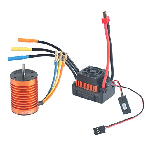 (RCRunning F540 3930KV Brushless Motor Waterproof with 45A ESC Electronic Speed Controller Combo Set 3.175mm Shaft for 1/10 RC Car Truck by)