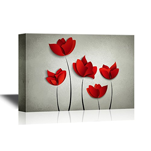 (wall26 Canvas Wall Art - Abstract Red Flowers on Grey Background - Gallery Wrap Modern Home Decor | Ready to Hang - 24x36)