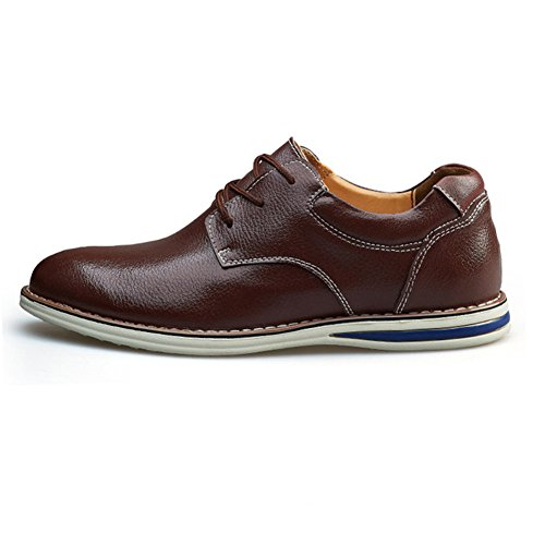 Maxu Mens Cuir Lacets Loisirs Oxford Chaussures Marron