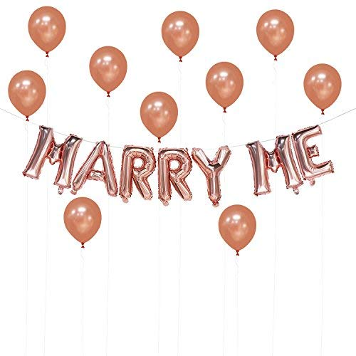 Marry Me Balloons Rose Gold, 16 inch | Rose Gold Decorations for Bridal Shower, Wedding, Engagement, Marriage Proposal, Bachelorette Party | Extra 10pcs Latex Balloons 12 inch