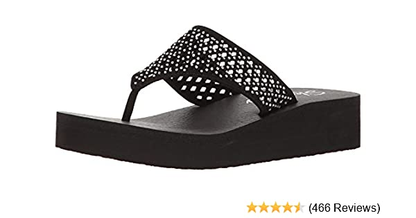 8782e68b2d Amazon.com | Skechers Cali Women's Vinyasa Flow Wedge Sandal, Black Cutout,  5 B(M) US | Flip-Flops