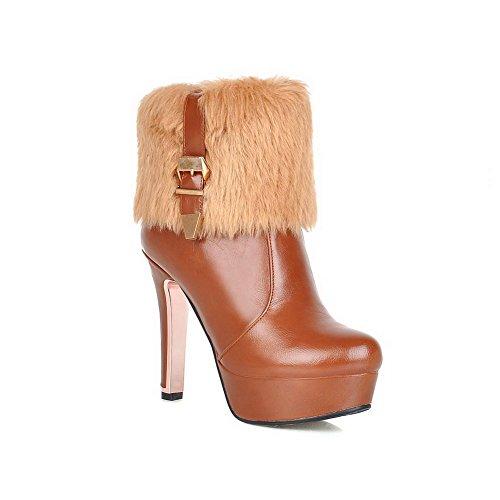 WeenFashion Women's Low Top Round Closed Toe Pu High-Heels Solid Boots, Brown-Platform, - Girl Spice Platform Boots