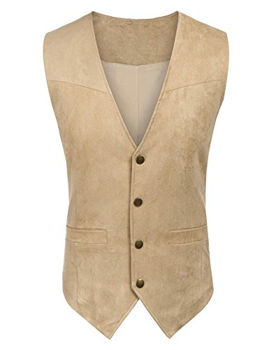 Simbama Men's Casual Western Suede Leather Vest Brown M