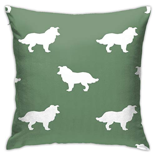 Lalae-ltd Border Collie Silhouette Medium Green Cushion Pillow Case Square Cushion Cover 18x18 Inch for Sofa,Bedroom, Home Decor