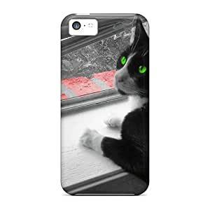 Hot WwX41096DpxF Green Eyed Kitty Cases Covers Compatible With Iphone 5c