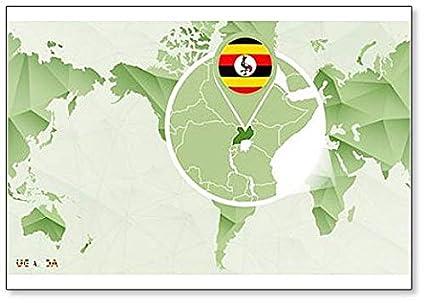 Amazon.com: World Map with Magnified Uganda Map Fridge ...