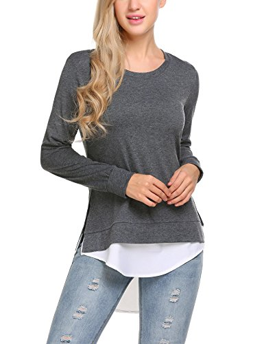 Zeagoo Women's Cashmere Wool Long Sleeve Cozy Layered Weave Knit Tunic Side Split Pullover Tops Grey/L (Cashmere Wool Trousers)