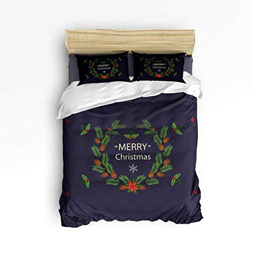 LanimioLOX Bedding Sets Merry Christmas Wreath with Pinecones 3 Piece Duvet Cover Set Quilt Bedspread for Childrens/Kids/Teens/Adults Twin/Twin XL
