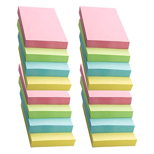 16 Pads Self-Stick Notes Bright Color Sticky Notes,100 Sheets/Pad,3 X 2 Inches,Individually Package,Easy to Post for Home, Office, Notebook