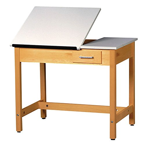 Diversified Woodcrafts DT-3A37 UV Finish Solid Maple Wood Art/Drafting Table with 1 Piece Top and Center Drawer, Plastic Laminate Top, 36'' Width x 36'' Height x 24'' Depth by Diversified Woodcrafts