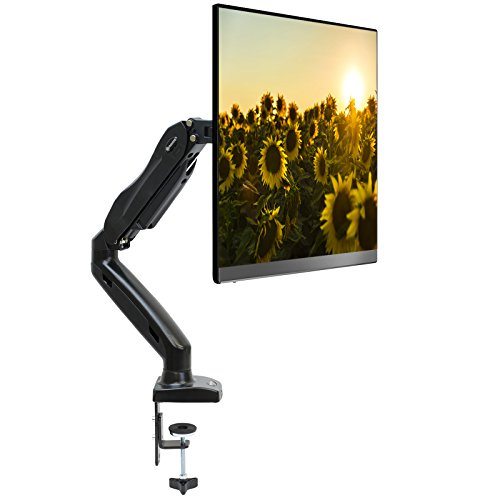 Mountio Full Motion LCD Monitor Arm - Gas Spring Desk Mount Stand for Screens up to - System Black Flat Panel Mounting