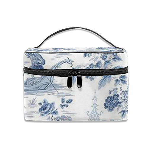 - Powder blue chinoiserie toile Portable Travel Makeup Bag Cosmetic Organizer Tote Bag for Women Girls