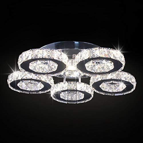 Modern Big Crystal Ceiling Light LED Chandelier Five Ring Pendant Light for Dinning Room Bedroom Kitchen Changeable Color