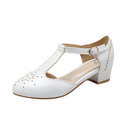 Mee Shoes Damen süß modern bequem dicker Absatz Geschlossen runde toe t-strap mit Spitzen Schnalle Pumps Weiß