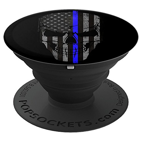 Thin Blue Line Policeman Skull American Flag Patriot - PopSockets Grip and Stand for Phones and Tablets ()