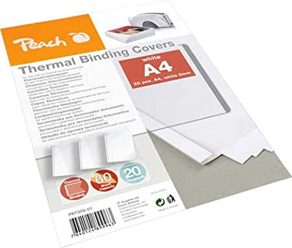 Peach Thermal Binder Cover white A4, 80 gsm 20-pack for 60 sheets PBT306-01