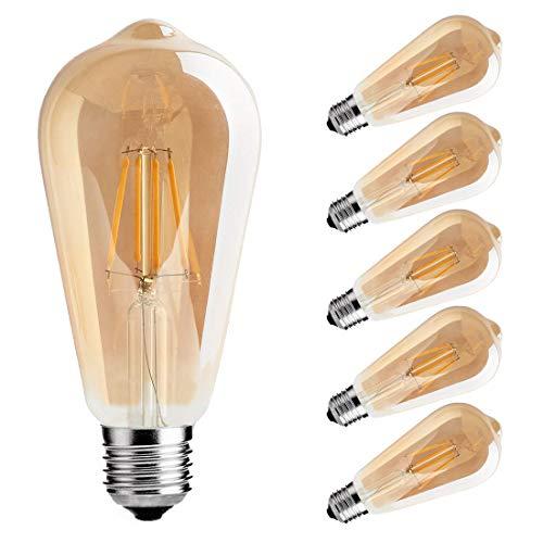 ST64 LED Edison Bulbs, 4W Vintage LED Filament Light Bulb,Dimmable LED Light Bulb, Amber Glass Cover,2700K, Antique Style, e26 Medium Screw Base,6 Pack