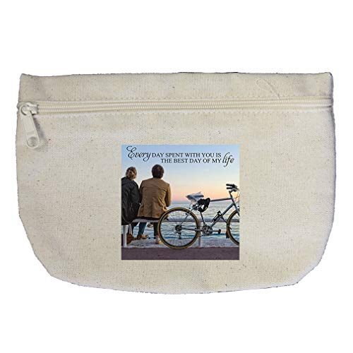 With You My Life as tis Couple in Sunset with Bike Cotton Canvas Makeup Bag by Style In Print