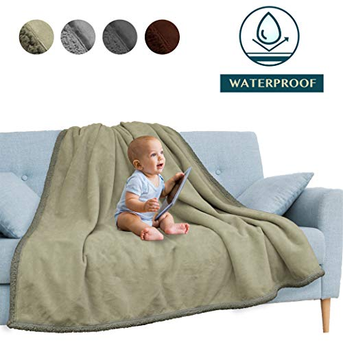 PAVILIA Waterproof Blanket, Pee Proof Blanket Protector Cover for Sofa, Couch, Bed, Baby, Pets, Dogs, Cats | Reversible Soft Plush Sherpa Fleece Throw 60x80 Inches, Taupe