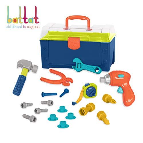 Battat - Battat Busy Builder Tool Box - Durable Kids Tool Set - Pretend Play Construction Tool Kit for Kids 3 years+  (20-Pcs)