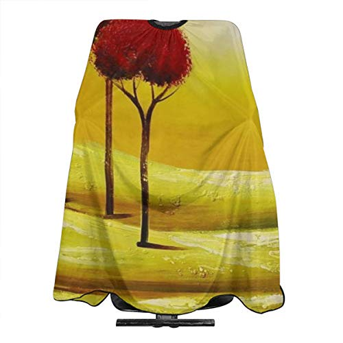 (VIVIAN RICE Professional Salon Hair Cut Cape,Apron with Adjustable Snap Closure,Hairdressers and Barbers Red Tree Sunset,Easy Clean,Lightweight)