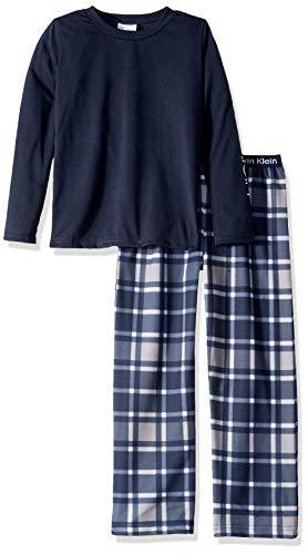 (Calvin Klein Big Boys' 2 Piece Sleepwear Top and Bottom Pajama Set Pj, Long Sleeve - Black Iris, Winter Plaid Navy, Medium-7/8)