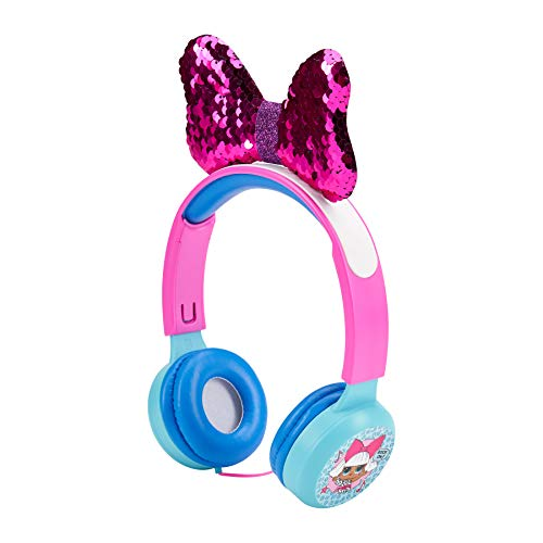 L.O.L. Surprise HP2-13136DIV L.O.L Surprise Kid Friendly Over The Ear Headphone with Volume Limiter, Great Sound, 3. 5mm Auxiliary Input, Fun and Vibrant Design, Pink