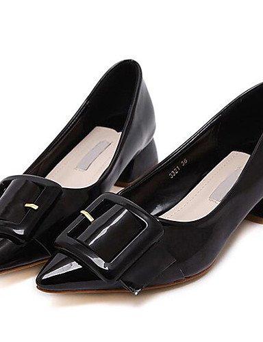 ZQ Zapatos de mujer-Tac¨®n Robusto-Tacones-Tacones-Boda / Oficina y Trabajo / Vestido / Casual / Fiesta y Noche-Cuero Patentado-Negro / Rojo , red-us8.5 / eu39 / uk6.5 / cn40 , red-us8.5 / eu39 / uk6. black-us6.5-7 / eu37 / uk4.5-5 / cn37
