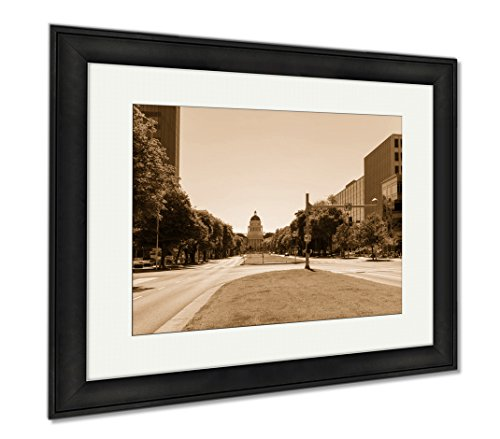 Ashley Framed Prints California State Capitol Building In Sacramento, Wall Art Home Decoration, Sepia, 26x30 (frame size), Black Frame, - Sacramento Downtown Mall