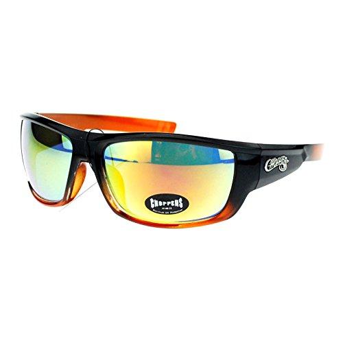 (Choppers Mens Skater Motorcross Warp Biker Rectangular Sport Plastic Sunglasses Black Orange)