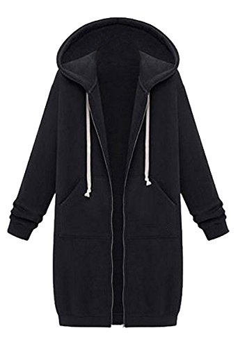 Blackmyth Zip Coat Tasca Pollovers Full Women Long Giacche Casual Nera Outwear Con Felpa Cappuccio rnrBpW