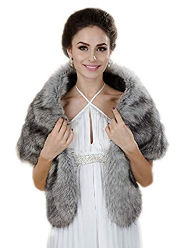 (Aukmla Gray Sleeveless Faux Fur Bride Bridesmaids Shawl Wrap Wedding Cover Up Winter Wedding Cape)