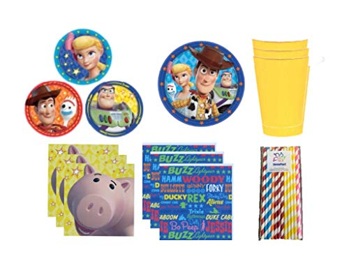 Toy Story 4 Party Kit: Plates, Cups, Napkins and ElevenPlus2 Straws