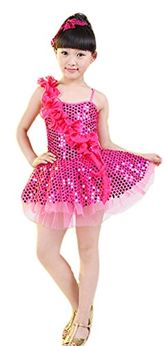 Costumes Dance Latin (AvaCostume Girls One Shoulder Latin Dance Costumes Paillettes Dress Performing Clothes, Rosered,)