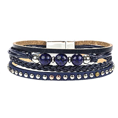 Boho Leather Wrap Bracelet - Rope Braided Multilayer Leather Strand Bracelet Handmade Stone Beads Cuff Bangle Bracelets with Magnetic Clasp Fashion Gift for Women, Teen Girls (Navy)